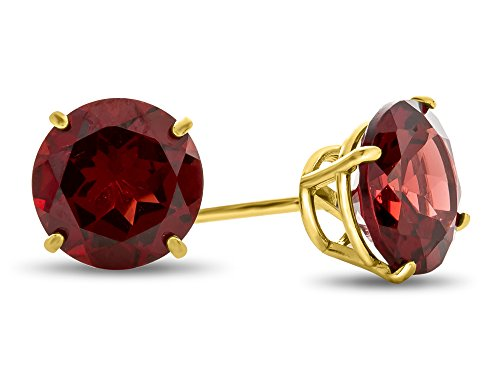 Finejewelers 10k Yellow Gold 7mm Round Garnet Post-With-Friction-Back Stud Earrings
