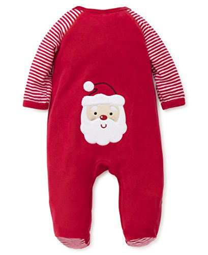 Little Me Boys' Holiday Velour Footie, Santa Tush,