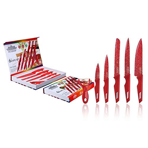 Knife Set, 6 Piece Magnetic Knife Set For Chefs With Peeler, Granite/Ceramic. PETERHOF (Kitchen RED)
