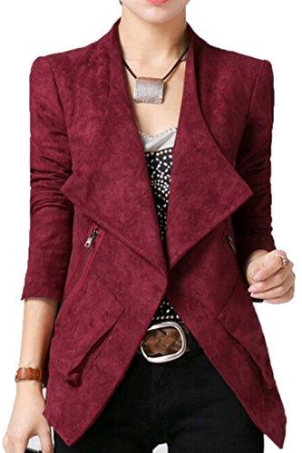 Pink Queen Women Spring Suede Soft Comfortable Blazer Jacket Suit Wine Red M