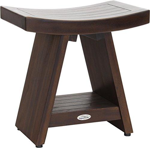 "AquaTeak Patented 18"" Asia Walnut-Colored Teak Shower Bench with Shelf"