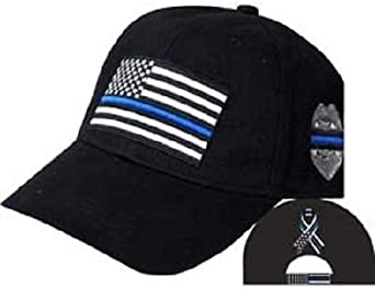 Thin Red Line USA Fire Memorial Ribbon Badge Fallen Black Officers Cap Hat EE