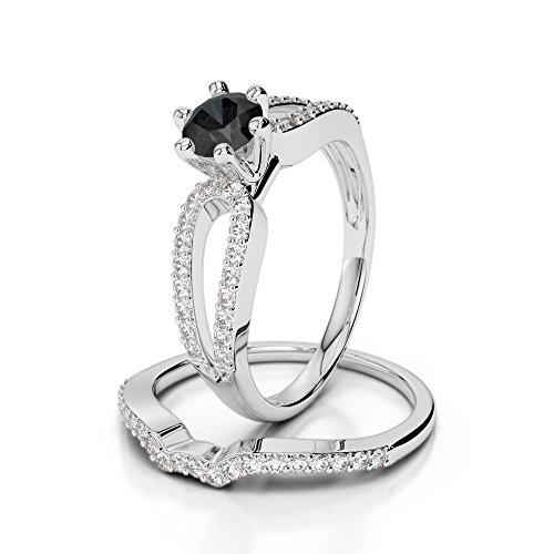 G-H/VS 0,50CT Coupe ronde sertie de diamants Noir ensemble et de fiançailles bague de fiançailles en platine 950Agdr-1148