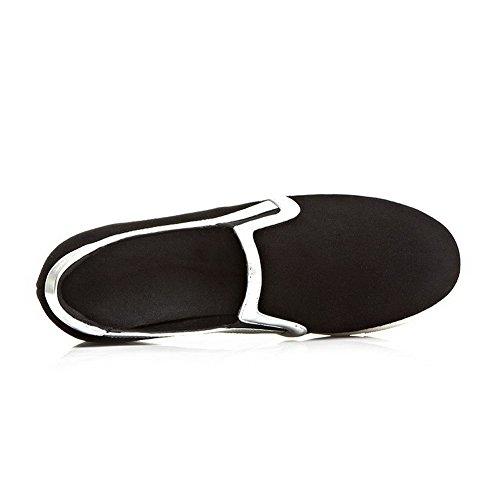 AllhqFashion Mujer Tacón bajo Esmerilado Piel de oveja Puntera Redonda ZapatosdeTacón Slip-on Negro
