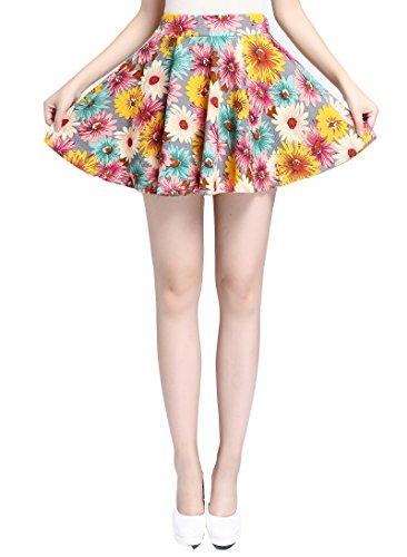 v28 Women Girls Stretch Waist Flared Plain Pleated Casual Mini Skater Skirt (One Size, Style 5)