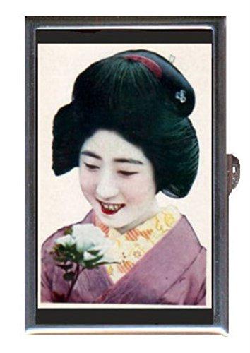 Japanese Geisha Girl in Purple Kimono Antique Art Decorative Pill Box (Kimono Japanese Antique)