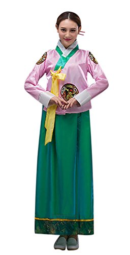 CRB Fashion Womens Ladies Korean Traditional Dress Costume Outfit (USA Large, Pink)