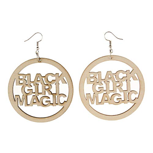 1 Pair Lady Black Girl Magic Ethnic Wooden Statement Earrings Drop Earrings Necklace Jewelry Crafting Key Chain Bracelet Pendants Accessories Best| Color - - Wires 34r
