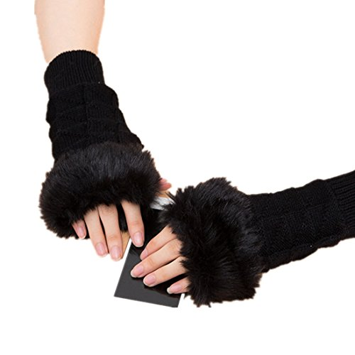 Zerowin Winter Warm Faux Fur Knitted Fingerless Gloves Thumbhole Arm Warmers for Women (Black) (Convertible Top Hold Down Cables)