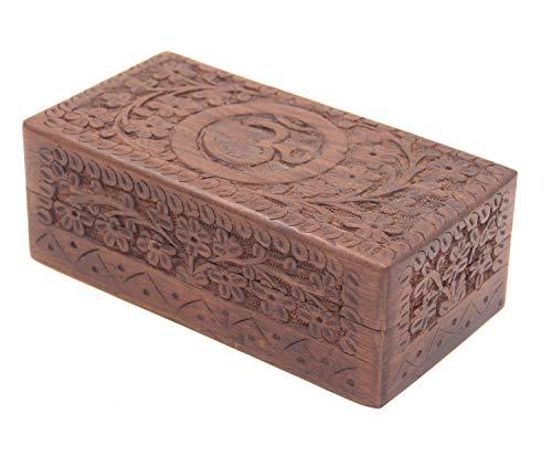 KayJayStyles Hand Carved OM Wooden Storage Box (Medium, (Heirloom Inspired Jewelry)