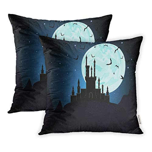 Emvency Set of 2 Throw Pillow Covers Cases Moon Halloween Dracula Castle Dungeon Transylvania 20