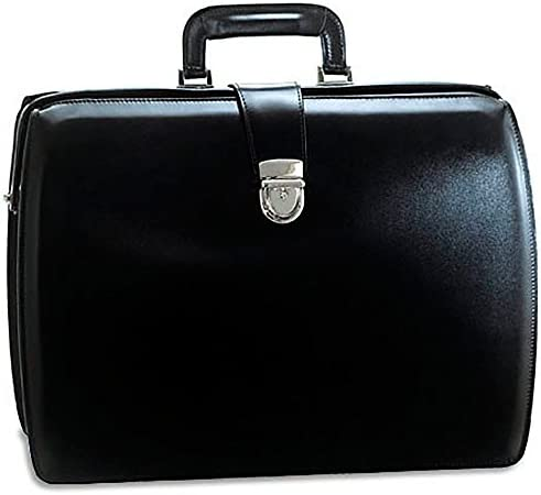 Jack Georges Mens Personalized Initials Embossing Elements Classic Leather Briefcase in Black