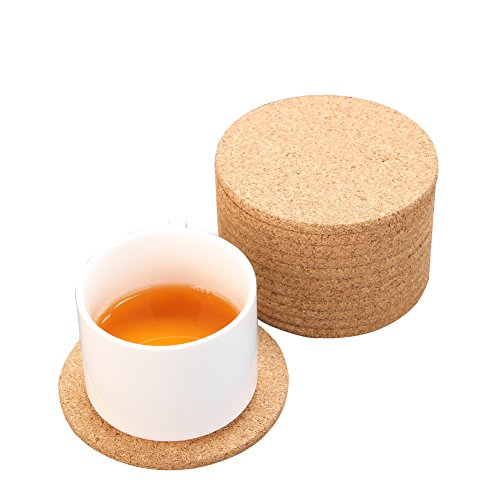 Round Edges Cork Bar Drink Coasters 4quot x 4quot  1/4 Thick Reusable and Keep Desk Dry Set of 12