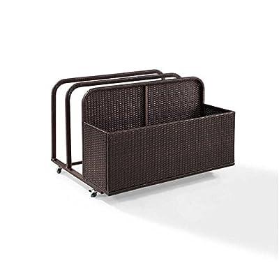 Outdoor Pool Raft Storage Wicker Float Caddy Holder Organizer Patio Furniture All weather Resin Wicker Powder Coated Steel