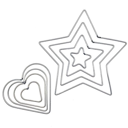 Wire Star - Chris.W 8 Pcs Craft Metal Star/Heart Shaped Rings Metal Hoops for Dream Catcher, 4 Sizes(5cm/8cm/10cm/12cm)