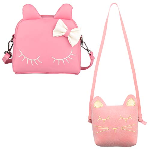 Purse Girls Handbag (SOTOGO 2 Pack Cat Purse Set Including Mini Backpack Bag with Bows and Crossbody Handbag Purses for Little Girls Toddlers)
