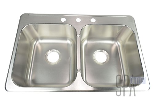 Blue Ocean 31 1/4'' KSS918 18 Gauge Stainless Steel Top Mount Kitchen Sink with FREE Strainers by Blue Ocean (Image #2)