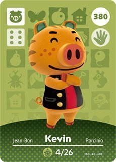 Kevin - Nintendo Animal Crossing Happy Home Designer Series 4 Amiibo Card - 380