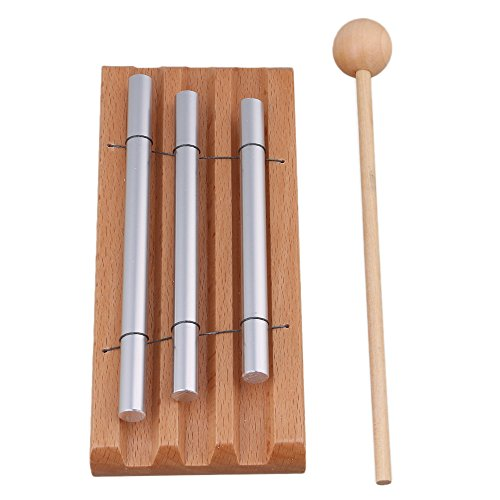 lovermusic 3 Tone Wooden Woodstock Instrument Energy Chime with Mallet and 3 Tube by lovermusic