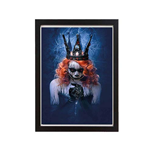 Mr kennys& Lucky 7 Queen of Death Scary Body Art Halloween Evil Face Bizarre Make up Zombie, 14x11 inch Black Solid Wood Photo Frame, Retro Simple Wall Artist Decoration (Send Photo Frame) -