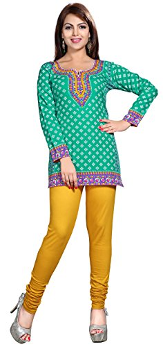 Maple Clothing Womens Printed Short Kurti Tunic Top Blouse Indian Clothes – S…Bust 34 inches, Green 2