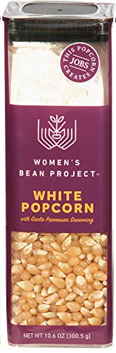 Women's Bean Project Gourmet White Amish Popcorn Kernels with Garlic Parmesan Seasoning, 10.6 Ounces, 20 Cups of Popcorn (Gift Baskets Denver Colorado)