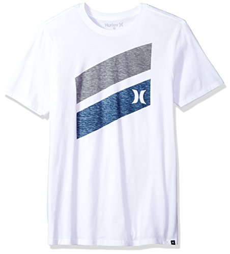 Hurley Men's Premium Icon Slash Graphic Short Sleeve Tee Shirt, White, M