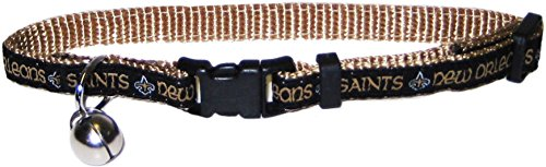 NFL CAT COLLAR. - NEW ORLEANS SAINTS CAT COLLAR. - Strong & Adjustable FOOTBALL Cat Collars with Metal Jingle Bell