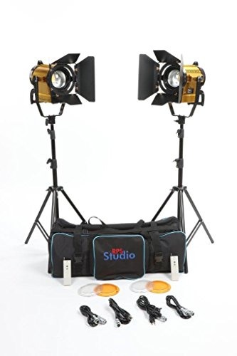 (CooLED 150F Focusing Lens, 2-Light Kit, Barn Doors, Light Stands with Bag)