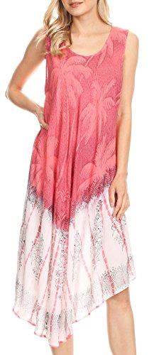 Sakkas 17156 - Farzana Women Sleeveless Summer Caftan Midi Dress Tie-dye Light and Fresh - Salmon - ()