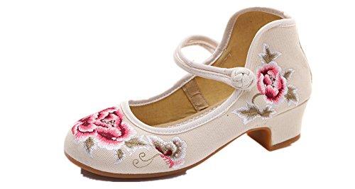 Vestir Tianrui Crown Beige Para Lona Mujer de Sandalias de tt4q7aBPw