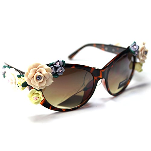 #Sonic23-S2 SONIC Eyewear Floral Flowers Cateye Women's - Gaga Sunglasses Cat Lady Eye