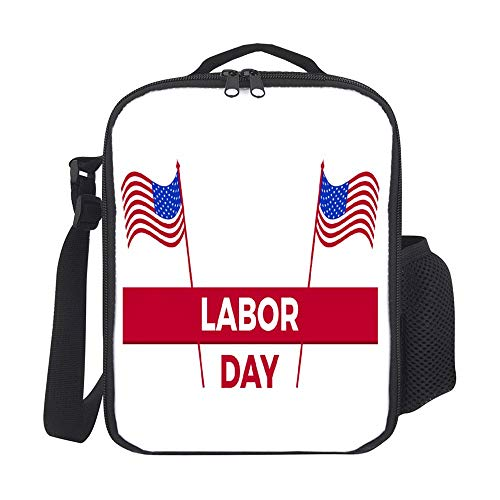 SARA NELL Insulated Labor Day United States National Flag Greeting Lunch Bag Tote with Detachable Adjustable Shoulder Thermal Waterproof Large Capacity Outdoor Picnic Lunch Box for Kids Teens Adults