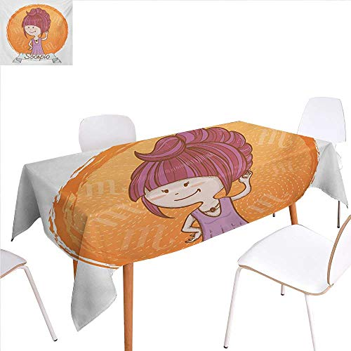 WilliamsDecor Zodiac Scorpio Customized Tablecloth Cartoon Style Illustration of a Girl with a Scorpion Tail Hairdo for Kids Stain Resistant Wrinkle Tablecloth 60