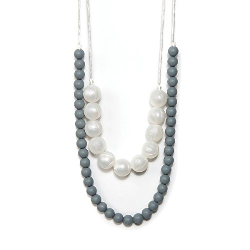 BANDED Baby Teething Necklace for Mom, BPA Free Soothing Silicone (Pearl Double Strand)