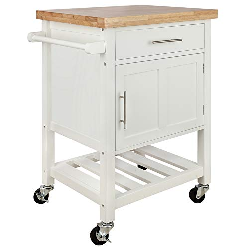 Homegear Kitchen Cart Butchers Block with Shelf and Cabinet on Wheels White ()