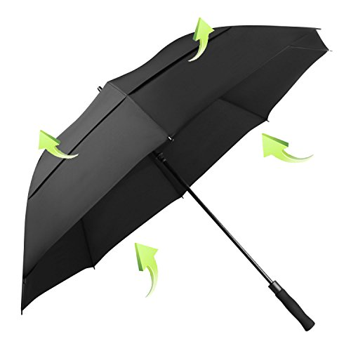 KOLER Golf Umbrella Windproof 62 Inch Oversized Double Vented Canopy Auto Open Waterproof & Sunproof Extra Large Stick Umbrellas - Black/Vented