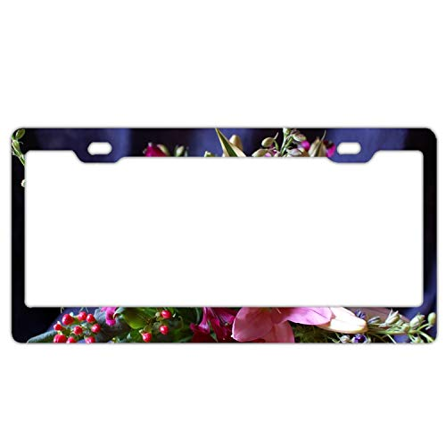 (Christopher Macadam License Plate Gerbera Lily Alstroemeria Flowers Bouquets License Plate Holder Durable Car Tag 12