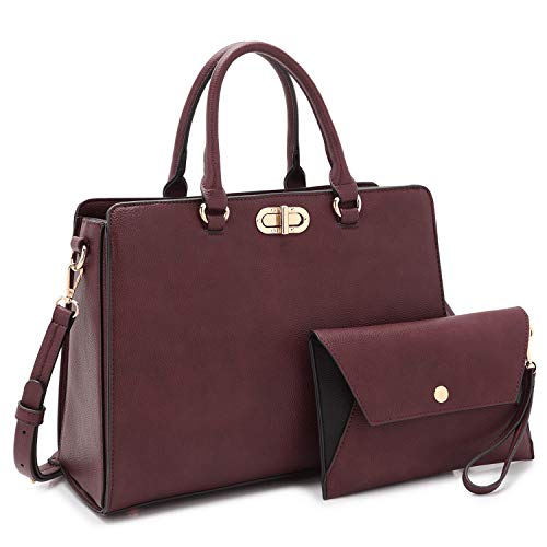 (Dasein Women Fashion Handbags Tote Purses Shoulder Bags Top Handle Satchel Purse Set 2pcs Purple)