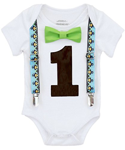 [Noah's Boytique Baby Boys 1st Birthday Bodysuit with Bow Tie 18-24 M Monkeys] (Monkey Outfits For Toddlers)