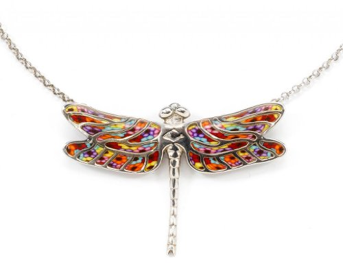Adina Necklace Silver Sterling (925 Sterling Silver Dragonfly Necklace Pendant Handmade Multi-Colored Polymer Clay Jewelry, 16.5
