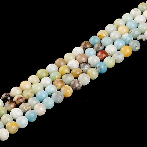 Amazonite Double Knotted Necklace.36 inches Handmade nature Stone Jewelry (8mm, Amazonite)