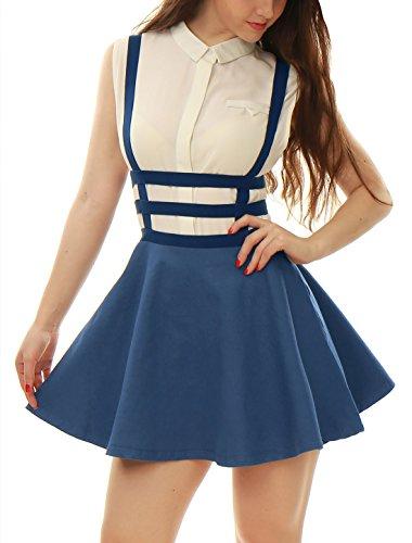 Allegra K Women Elastic Waist Cut Out A Line Suspender Skirt M Dark Blue