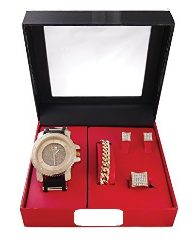 """The Hip Hop Watch and Jewelry Gift Set That is""""Drippin' in Finesse""""! Black and Gold Bullet Rubber Band Watch & Jewerly Set w/Goldtone Chain Bracelet, Kite Bling Earrings & Ice'd Out Ring - GJM14Gold from Charles Raymond"""
