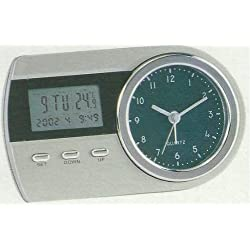 Dual Clock - Digital and Analog Indoor Temperature Home Office Work Desk Travel Alarm Clock