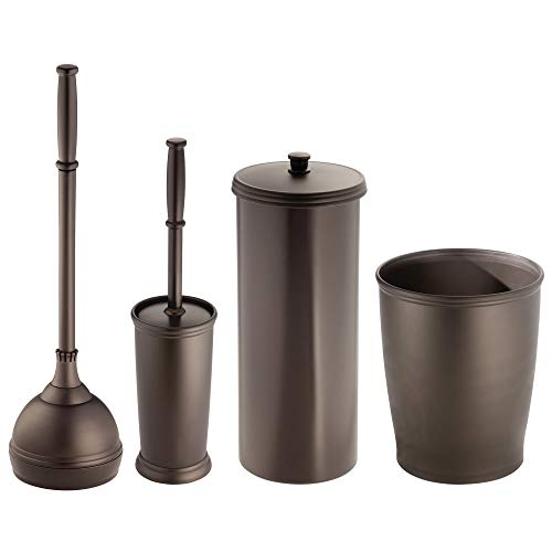 - mDesign Modern Plastic Bathroom Storage and Cleaning Accessory Set - Includes Toilet Plunger, Bowl Brush, 3 Roll Toilet Paper Canister with Lid, Wastebasket Trash Can, Garbage Bin - 4 Pieces - Bronze