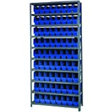 Quantum Storage Complete Shelving System with 6in. Bins - 36in.W x 12in.D x 75in.H, 72 bins (11 5/8in.L x 4 1/8in.W x 6in.Heach), Blue, Model# 1275-201BL