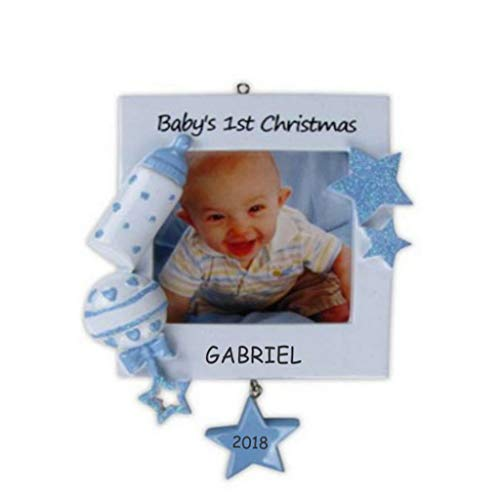 Personalized Photo Frame Baby Christmas Ornament (Blue)