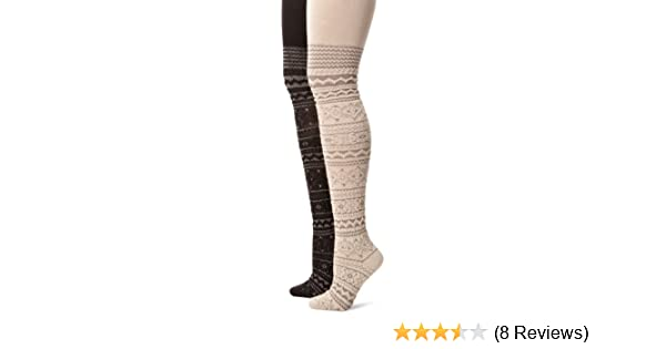 768069a17a432 Muk Luks Women's Patterned Tights 2 Pair Pack-Trish, Black/Grey Small at Amazon  Women's Clothing store:
