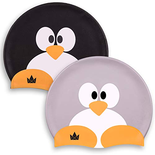 The Friendly Swede Kids Silicone Swim Caps for Girls and Boys, with Fun Animal Print (2 Pack) (Penguin Pair)